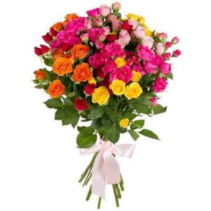 11 кустовых роз ассорти
